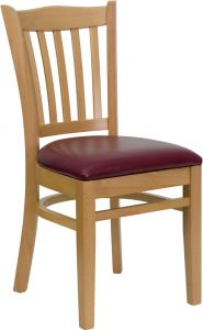 HUSKY Seating® Vertical Back Wood 500 LB Restaurant Chair with Natural Finish & Vinyl Seat