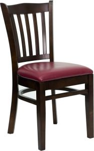 HUSKY Seating® Vertical Back Wood 800 LB Restaurant Chair with Walnut Finish & Vinyl Seat