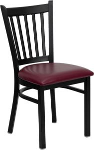 HUSKY Seating® Vertical Back Black Metal 500 LB Restaurant Chair