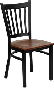 HUSKY Seating® Vertical Back Black Metal 500 LB Restaurant Chair with Wood Seat