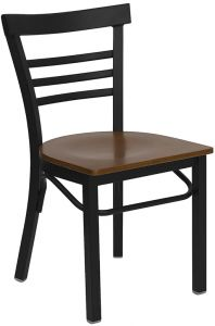 HUSKY Seating® Heavy Duty Black Metal 500 LB Restaurant Chair with Ladder Back & Wood Seat