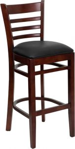 HUSKY Seating® Mahogany Finish Wooden Restaurant 800 LB Bar Stool with Ladder Back & Padded Vinyl Seat