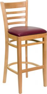 HUSKY Seating® Natural Wood Finish Restaurant 800 LB Bar Stool with Ladder Back & Padded Vinyl Seat