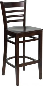 HUSKY Seating® Heavy Duty 800 LB Ladder Back Wood Bar Stool