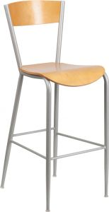HUSKY Seating® Series Natural Finished 500 LB Wood Restaurant Commercial Bar Stool