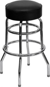 HUSKY Seating® Heavy Duty Steel 500 LB Metal Bar Stool with Chrome Frame & Swivel Seat