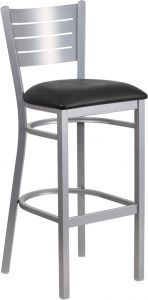 HUSKY Seating® Slat Back Silver Finish Restaurant 500 LB Bar Stool with Vinyl Seat