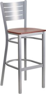HUSKY Seating® Slat Back Silver Finish Restaurant 500 LB Bar Stool with Wood Seat