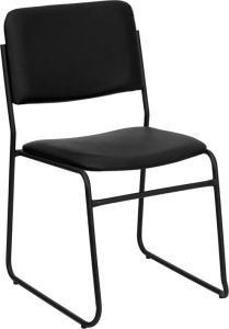 HUSKY Seating® 1000 LB Black Vinyl Padded Commercial Stack Chair