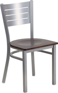 HUSKY Seating® 500 LB Silver Slat Back Metal Restaurant Chair