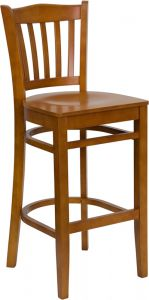 HUSKY Seating® 800 LB Vertical Slat Back Wooden Restaurant Bar Stool