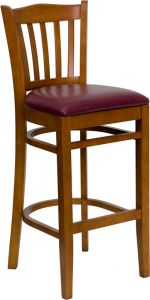 HUSKY Seating® 500 LB Cherry Vertical Slat Back Wooden Restaurant Bar Stool with Vinyl Seat