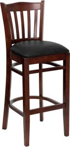 HUSKY Seating® 800 LB Mahogany Vertical Slat Back Wooden Restaurant Bar Stool with Vinyl Seat