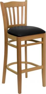 HUSKY Seating® 800 LB Natural Vertical Slat Back Wooden Restaurant Bar Stool with Vinyl Seat