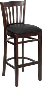 HUSKY Seating® 800 LB Walnut Vertical Slat Back Wooden Restaurant Bar Stool with Vinyl Seat