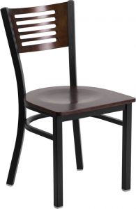HUSKY Seating® Walnut Wood Restaurant Chair with Metal Frame & Slat Back