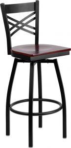 "HUSKY Seating® Heavy Duty 500 LB Restaurant Bar Stool with ""X"" Back & Swivel Wood Seat"