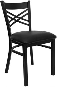 """HUSKY Seating® Black Metal 500 LB Restaurant Chair with """"X"""" Back"""
