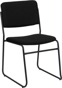 HUSKY Seating® 1000 LB Black Fabric Padded Commercial Stack Chair