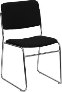 HUSKY Seating® 1000 LB Black Fabric Commercial Stack Chair with Chrome Frame