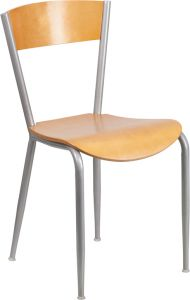 HUSKY Seating® Series Natural Wood Restaurant Chair with Metal Frame