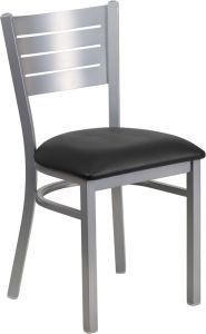 HUSKY Seating® 500 LB Silver Slat Back Metal Restaurant Chair with Vinyl Seat