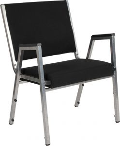Husky Office® 1500 Lbs. Big & Tall Fabric Stacking Side Chair with Arms