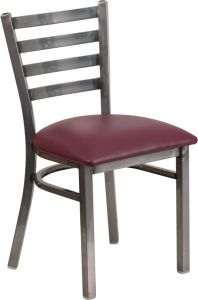 HUSKY Seating® 500 LB Clear Coated Ladder Back Metal Restaurant Chair with Vinyl Seat