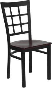 HUSKY Seating® Durable 500 LB Metal Restaurant Chair with Window Back & Wood Seat