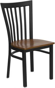HUSKY Seating® Heavy Duty School House Back Metal 500 LB Restaurant Chair with Wood Seat