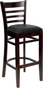 HUSKY Seating® Walnut Finish Wood Restaurant 800 LB Bar Stool with Ladder Back & Padded Vinyl Seat