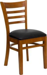 HUSKY Seating® Ladder Back Wood 800 LB Restaurant Chair with Cherry Finish & Vinyl Seat