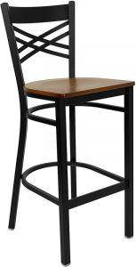"HUSKY Seating® Heavy Duty 500 LB Restaurant Bar Stool with ""X"" Back & Wood Seat"