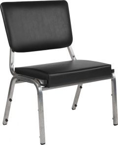 Husky Office® 1500 Lbs. Bariatric Black Vinyl Panel Back Side Chair