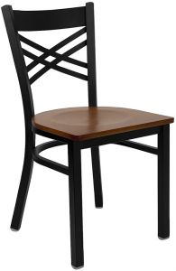 "HUSKY Seating® Black Metal 500 LB Restaurant Chair with ""X"" Back & Wood Seat"