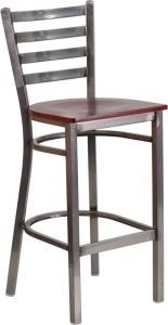 HUSKY Seating® Ladder Back Commercial 500 LB Bar Stool with Steel Finish & Wood Seat