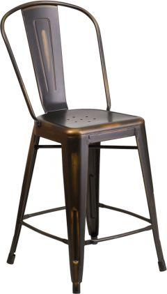 "HUSKY Seating® 500 LB Indoor-Outdoor Distressed Copper Counter Height 24"" Metal Bar Stool"