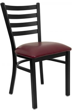 HUSKY Seating® Heavy Duty 500 LB Restaurant Chair with Black Metal Ladder Back