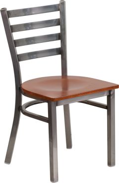 HUSKY Seating® 500 LB Clear Coated Ladder Back Metal Restaurant Chair