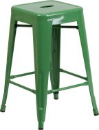 "HUSKY Seating® 500 LB Counter Height 24"" Indoor-Outdoor Stacking Metal Bar Stool with Square Seat"
