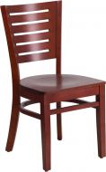 HUSKY Seating® Designer Back Wood 800 LB Restaurant Chair with Mahogany Finish & Wood Seat
