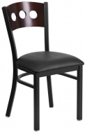 HUSKY Seating® Heavy Duty 500 LB Restaurant Chair with Walnut Tri-Circle Back