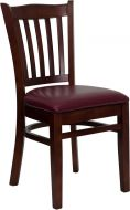 HUSKY Seating® Vertical Back Wood 800 LB Restaurant Chair with Mahogany Finish & Vinyl Seat