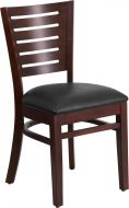 HUSKY Seating® 800 LB Slat Back Walnut Wooden Restaurant Chair with Vinyl Seat