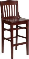 HUSKY Seating® School House Back Wood 800 LB Restaurant Bar Stool with Mahogany Finish & Wood Seat